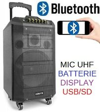"""CASSA AMPLIFICATA ATTIVA TROLLEY RICARICABILE BATTERIE 250W 10"""" USB-SD BLUETOOTH"""