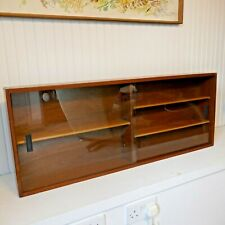 Vintage Mid Century Teak Wall Mounted Glazed Display Bathroom Collectors Cabinet