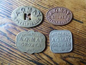 4 x Vintage tokens A.Q.MAY GROWER SPITALFIELDS MKT. 6D, 1S,2S ,10S R.NEAL (PM)