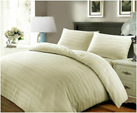 LUXURY DUVET SET 500TC 100% EGYPTIAN COTTON SATIN STRIPE QUILT BEDDING COVER