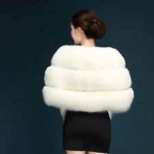 White Plush Real Fur Women Wedding Wraps Shrug Bolero Bridal Coat Shawl Cape