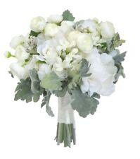 White Ivory Bridal Bouquet Peonies, Roses, Gum Nuts - Silk Wedding Flowers