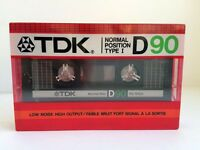 TDK D 90 BLANK AUDIO CASSETTE TAPE NEW RARE 1985 YEAR USA MADE KIND #1