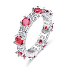 Red Noble Garnet Gems Valentines Gift Silver Jewelry Women Bride Wedding Ring