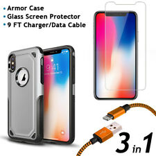 iPhone X Armor Case and Glass Screen Protector and 9FT Charger/Data Cable 3 in 1