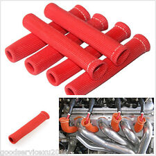 8 X Red 6 Inches Vehicles 1200° Spark Plug Wire Boot Heat Shield Protector Cover