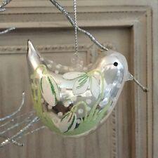Pearlised Painted Glass Bird Christmas Tree Decoration Snowdrops Gisela Graham