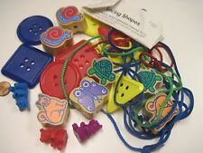 25 Piece Lacing Lot of 3 Bears + 9 Plastic Shapes 7 Wood Animal Beads + 6 Laces