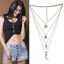 Boho Tibetan Silver Turquoise Pendant Necklace Chain Bib Collar Multilayer Gypsy
