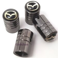 Mazda 4 x Dust Caps Black Valve Covers Wheel Tyre Tire Set of 4
