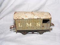 MECCANO HORNBY TRAIN BOXCAR LMS 'O' GAUGE FOR CLOCKWORK  TIN PLATE KHAKI