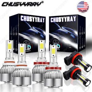 For Saturn Vue 2008-2010 LED Headlight High Low Fog Light Bulbs Combo Kit 6000K