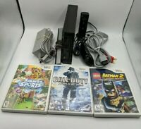 Nintendo Wii Black Console RVL-001 Bundle GameCube Compatible W/ 3 Games *Read