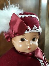 "Patsy Effanbee Doll; Red Velvet Clothing; feather & eyelet trim; 13 1/2"" w/stand"