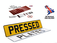 X2 Metal Pressed Registration Number Plates, Free Sticky Pads, 100% ROAD LEGAL