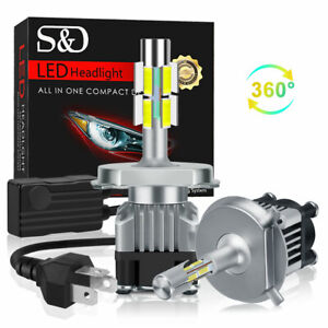 360° 4-Side H4 LED Headlight Kit 100W 18000LM Mini Bulbs High Power 6000K Canbus