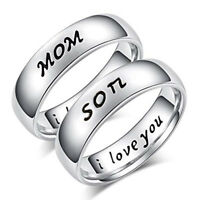 EG_ Titanium Steel Mom Son I Love You Carved Family Ring Mother's Day Jewelry Ut