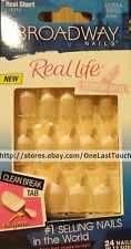 BROADWAY*Real Life 24  Glue-On Nails EVERYDAY White Tips Real Short #00554 2/2