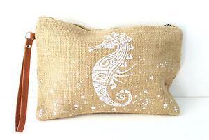 Seahorse Print Burlap Clutch Wrist Wallet Makeup Accessory Bag