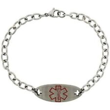 Stainless / Surgical Steel Medical Emergency ID Bracelet, 14mm Wide