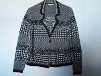 Coldwater Creek Black White Hounds Tooth Cardigan Sweater Size M 10-12