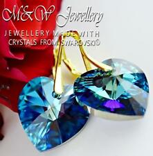 Gold Plated 925 Silver Earrings Crystals From Swarovski® HEART Bermuda Blue 18mm