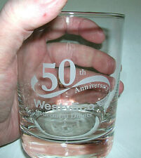 4 Highball Drinking Glasses Acid Etched Westvaco 50th Anniversary Gold Rim NEW