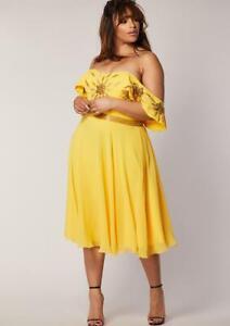 Virgos Lounge Curve Ebonee Yellow Embellished Shoulder Party Midi Dress UK 18 20