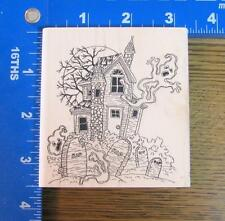 VLVS FUNNY HAUNTED HOUSE SCENE rubber stamp HALLOWEEN GHOSTS GRAVEYARD NEW!