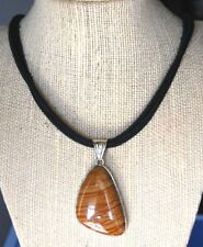Huge Gemstone Triangle Brown Jasper Pendant Black Cord Necklace USA