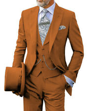 3Piece Mens Suits Classic Tuxedo Notch Lapel Grooms Retro Blazer+Vest+Pants Slim