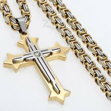 5mm Stainless Steel Men's Cross Pendant Necklace Gold Silver Byzantine Chain