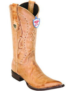 Men's Wild West Genuine Leather Honey Western Boots Pointed Toe 3X