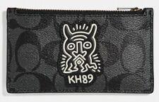 COACH x Keith Haring 'KH89 Motif' Signature Canvas Zip Card Case Slim Grey *NWT*