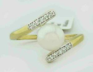 GENUINE PEARL & WHITE SAPPHIRES RING 10K GOLD ** Free Certificate Appraisal **