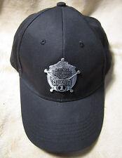 HARLEY DAVIDSON Men's Sheriff Metal Medallion Black Cotton Baseball Cap Hat