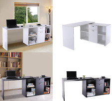 L Shape Corner Computer Desk Office Bedroom Storage Drawers Shelves Workstation