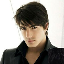 Mens Black Wig US stock Short Hair Synthetic Old Heat Resistant Straight for Man