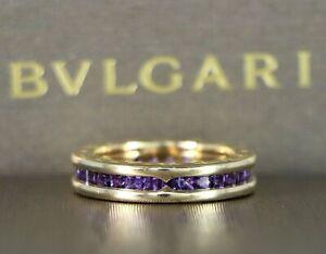 $4,650 Bvlgari 18K Yellow Gold B.Zero1 Purple Amethyst Wedding Band Ring 51