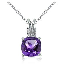 Sterling Silver African Amethyst and Diamond Accent Cushion-cut Necklace