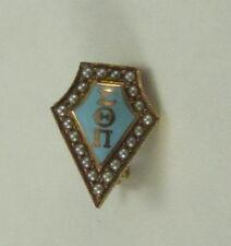 Vintage Sigma Theta Pi 10k Gold Fraternity Pin Seed Pearls Blue Enamel