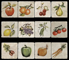 12 Fruits Vegies  Accent Tumbled Marble Tiles Kitchen Backsplash  Stone Mural