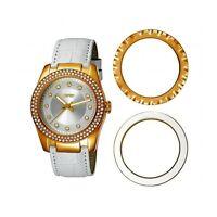 ESPRIT - TURNAROUND Gold White ES104012003 Damen Leder Armbanduhr Analog Neu