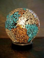 Lampe mosaïque boule bleu et chocolat
