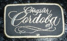 Vintage Chrysler Cordoba Label Embroidered Fabric Patch In Gray & White Color-NW