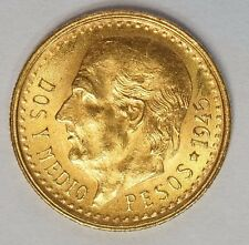 Mexico Gold 2 1/2 pesos GEM BU 1945 (G-1945) Stock Photo