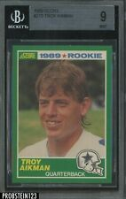 1989 Score Football #270 Troy Aikman Dallas Cowboys RC Rookie HOF BGS 9