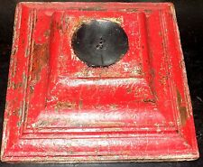 Vintage Style Shabby Country Chic Wooden Architectural Red Column Candle Holder