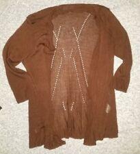 "Women's Laura Scott Maroon 3/4"" Sleeve Open Cardigan Sweater Medium Thin Knit"