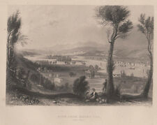 Troy, NY from MT. Ida by WH Bartlett  antique !  1849 Albany Hudson River